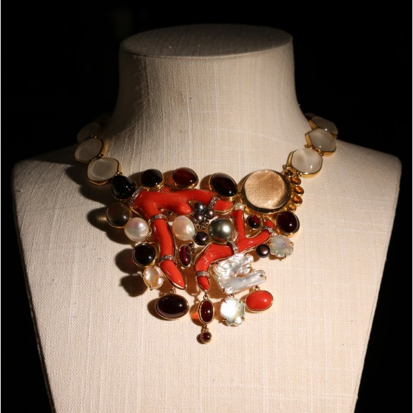 Gold and doral necklace