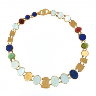 Gold and gemstones necklace