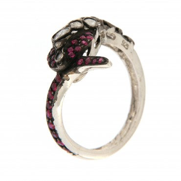 Rubies and diamonds snake ring