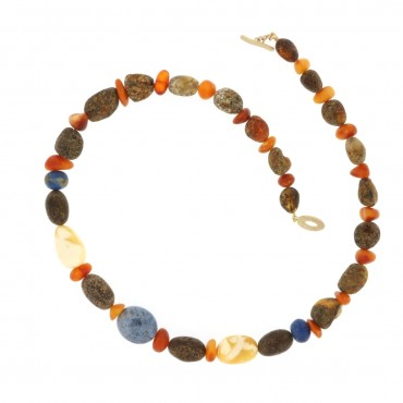 lapis lazuli and amber necklace