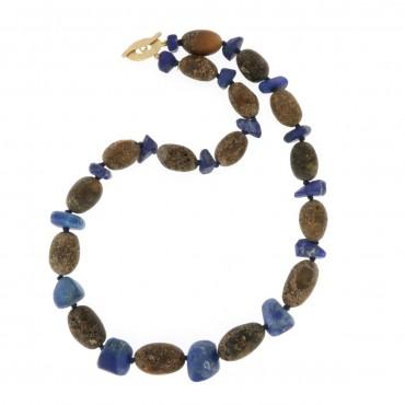 collana ambra del baltico e lapislazzuli