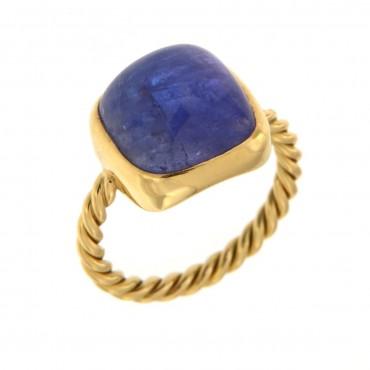 anello oro e tanzanite