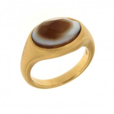 anello oro e sardonice
