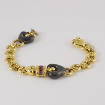 Bracciale La Nouvelle Bague vintage, oro 18 Kt, smalto e rubini carré