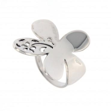 Anello a forma di fiore, oro bianco 18 Kt