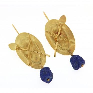 shield lapis earrings