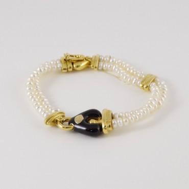 Bracciale La Nouvelle Bague vintage, oro 18 Kt smalto e perle