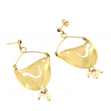 bird gold earrings