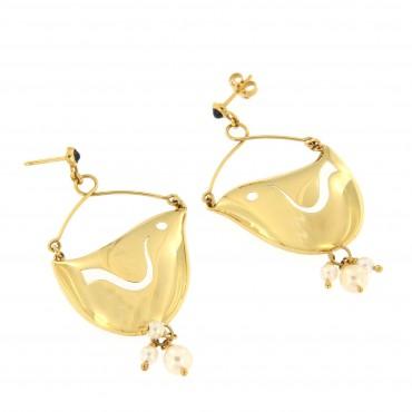 Orecchini oro 18 Kt a forma di uccellino, con zaffiri naturali  e perle Akoya