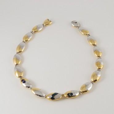 Collana La Nouvelle Bague vintage, oro 18 Kt giallo/bianco, diamanti, smalto