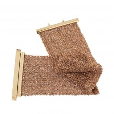 bracciale oro rosè tessuto