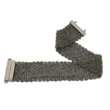 bracciale argento brunito tessuto