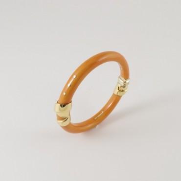 Bracciale La Nouvelle Bague vintage, oro 18 Kt smalto color corallo Sciacca