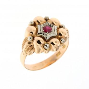 anello oro con rubino sintetico, anni '50