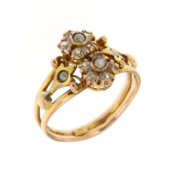 anello oro e perline