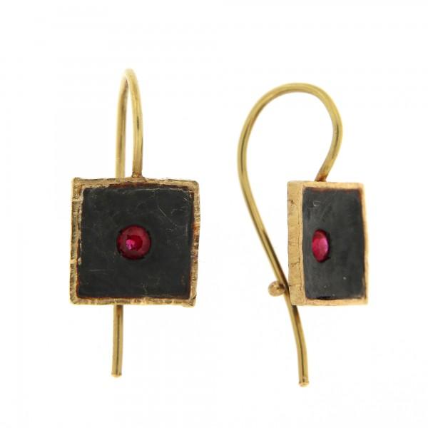 """omaggio a Lucio Fontana"" ruby earrings"