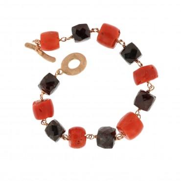 Garnet and coral bracelet