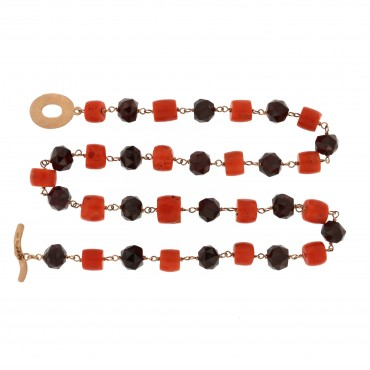 Garnet and coral necklace