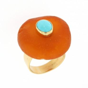 anello oro ambra e turchese